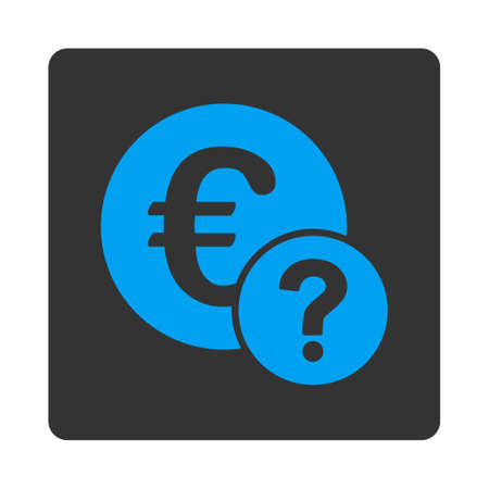 status icon: Euro status icon. Vector style is white and gray colors, flat rounded square button on a white background.