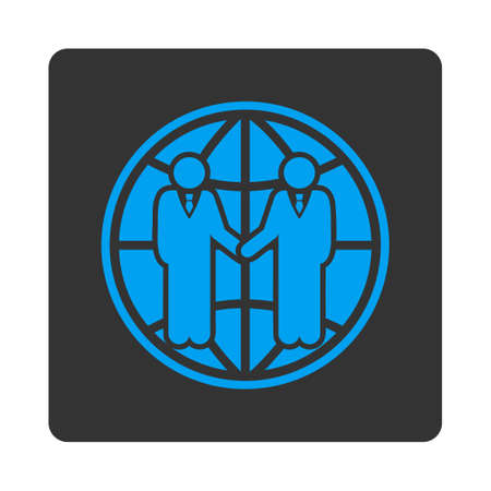 partnership icon: Global partnership icon. Vector style is white and gray colors, flat rounded square button on a white background. Illustration
