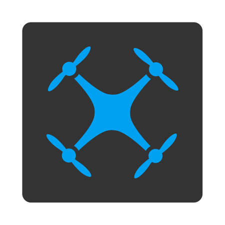 airflight: Quadcopter icon. Vector style is white and gray colors, flat rounded square button on a white background.