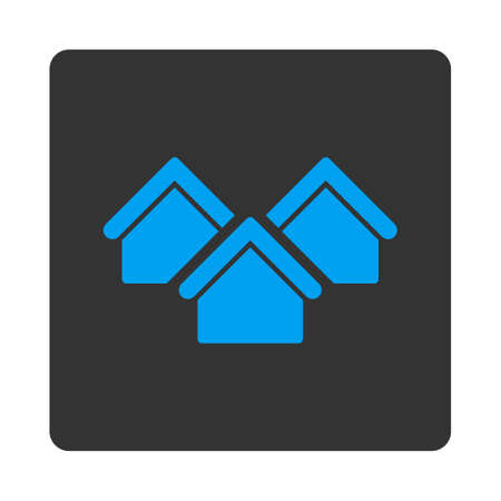 Real estate icon. Vector style is white and gray colors, flat rounded square button on a white background. Illustration