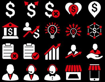 financial emergency: Trade business and bank service icon set