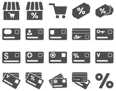 authorize: Shopping and bank card icon set. These flat icons use gray color. Images are isolated on a white background. Angles are rounded.