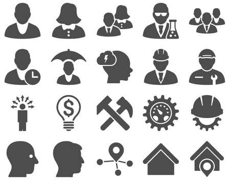 medical distribution: Client and business icon set. These flat icons use gray color. Images are isolated on a white background. Angles are rounded.