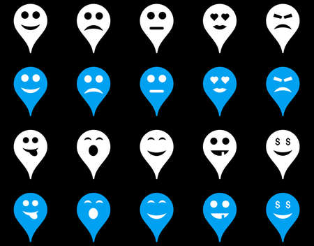 Emotion map marker icons. Vector set style is bicolor flat images, blue and white symbols, isolated on a black background.
