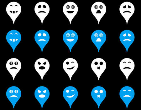 pity: Emotion map marker icons. Vector set style is bicolor flat images, blue and white symbols, isolated on a black background.