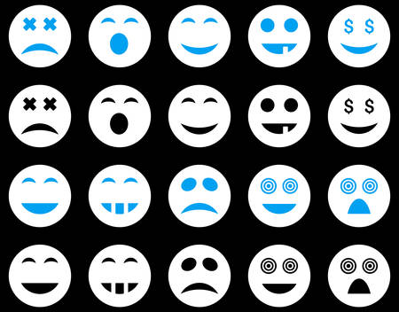 pity: Smile and emotion icons. Vector set style is bicolor flat images, blue and white symbols, isolated on a black background.