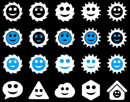 emo��es: Tools, gears, smiles, emotions icons Ilustra��o