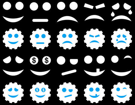 embarassed: Tools, gears, smiles, emoticons icons. Glyph set style is bicolor flat images, blue and white symbols, isolated on a black background.