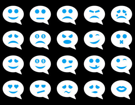 bad fortune: Chat emotion smile icons. Glyph set style is bicolor flat images, blue and white symbols, isolated on a black background. Stock Photo