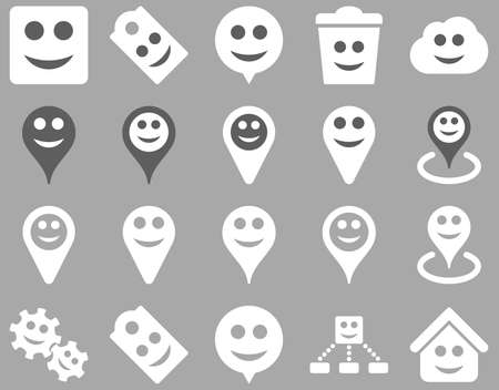 gear box: Tools, emotions, smiles, map markers icons