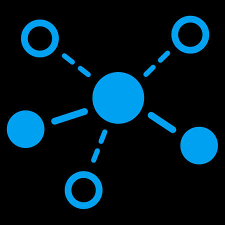 distribute: Structure icon. This flat vector symbol uses blue color, rounded angles, and isolated on a black background.