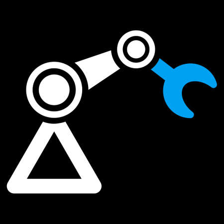 manipulator: Manipulator icon. This flat vector symbol uses blue and white colors, rounded angles, and isolated on a black background. Vettoriali