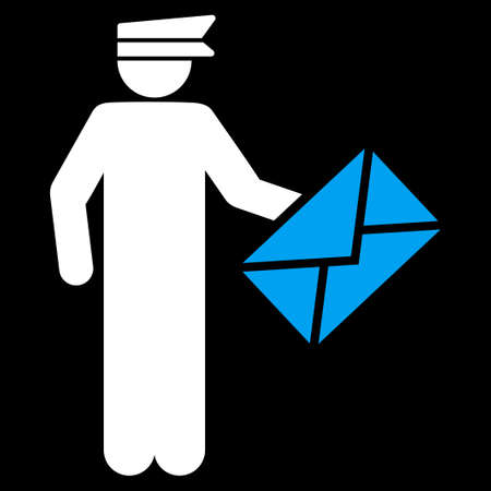 packet driver: Postman icon. This flat vector symbol uses blue and white colors, rounded angles, and isolated on a black background. Illustration