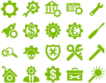cash register building: Settings and Tools Icons. Vector set style is flat images, eco green color, isolated on a white background.