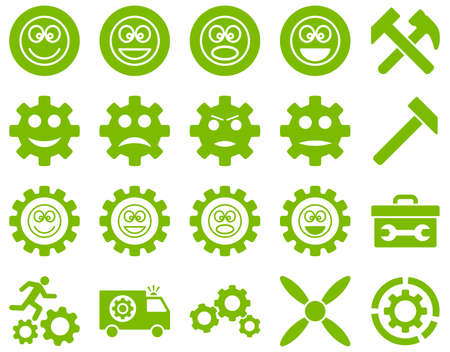 cooler boxes: Tools and Smile Gears Icons