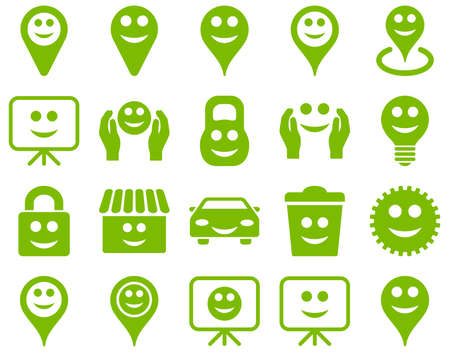 green building: Tools, options, smiles, objects icons