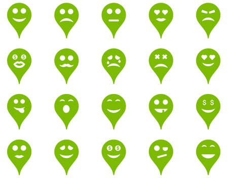 bad fortune: Emotion map marker icons. Vector set style is flat images, eco green symbols, isolated on a white background.