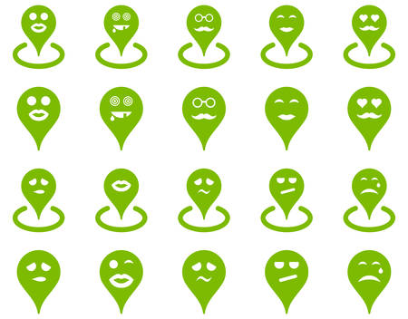 tier: Smiled location icons. Vector set style is flat images, eco green symbols, isolated on a white background.