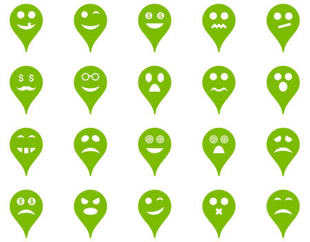 sleepy woman: Emotion map marker icons. Vector set style is flat images, eco green symbols, isolated on a white background.