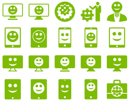 displays: Tools, options, smiles, displays, devices icons