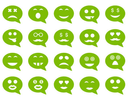 Chat emotion smile icons. Vector set style is flat images, eco green symbols, isolated on a white background.