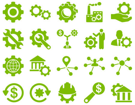 Settings and Tools Icons. Glyph set style is flat images, eco green color, isolated on a white background.