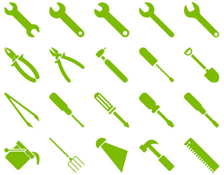 atomiser: Equipment and Tools Icons. Glyph set style is flat images, eco green color, isolated on a white background. Stock Photo