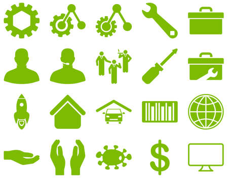 car care center: Settings and Tools Icons. Glyph set style is flat images, eco green color, isolated on a white background.