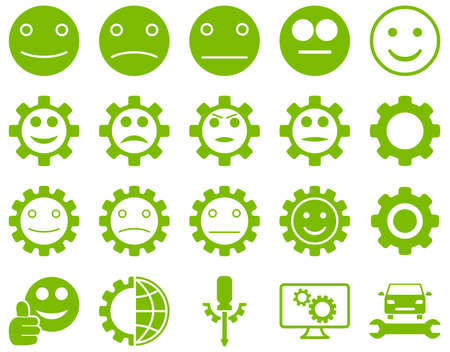 smiley face car: Tools and Smile Gears Icons. Glyph set style is flat images, eco green color, isolated on a white background.