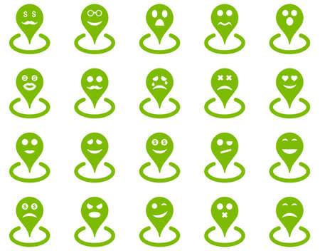 Smiled location icons. Glyph set style is flat images, eco green symbols, isolated on a white background.