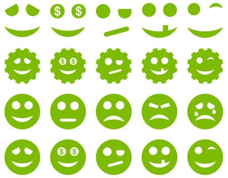 embarassed: Tools, gears, smiles, emoticons icons. Glyph set style is flat images, eco green symbols, isolated on a white background.