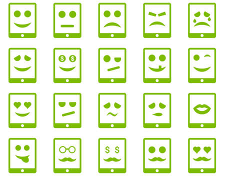 electronic background: Emotion mobile tablet icons. Glyph set style is flat images, eco green symbols, isolated on a white background. Stock Photo