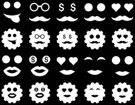 prostitue: Gear and emotion icons. Vector set style is flat images, white symbols, isolated on a black background. Stock Illustratie