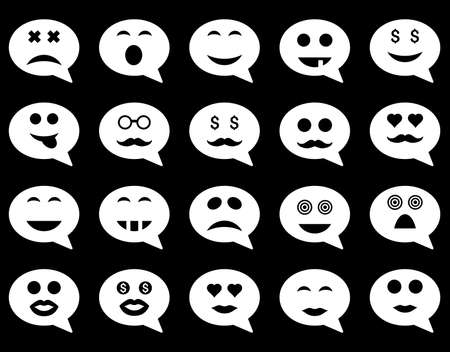 pity: Chat emotion smile icons. Vector set style is flat images, white symbols, isolated on a black background.