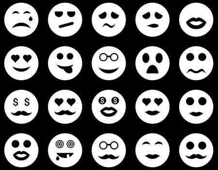Smile and emotion icons. Vector set style is flat images, white symbols, isolated on a black background.