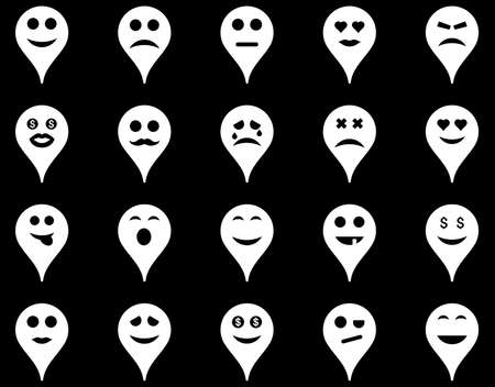 Emotion map marker icons. Vector set style is flat images, white symbols, isolated on a black background.