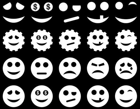 bad fortune: Tools, gears, smiles, emoticons icons. Vector set style is flat images, white symbols, isolated on a black background.