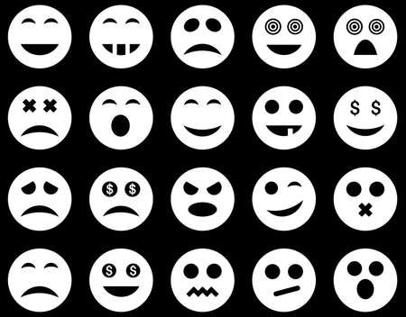 pity: Smile and emotion icons. Vector set style is flat images, white symbols, isolated on a black background.