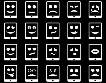 mouth screen: Emotion mobile tablet icons. Vector set style is flat images, white symbols, isolated on a black background.