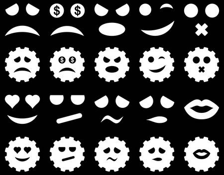 Tool, gear, smile, emotion icons. Vector set style is flat images, white symbols, isolated on a black background.