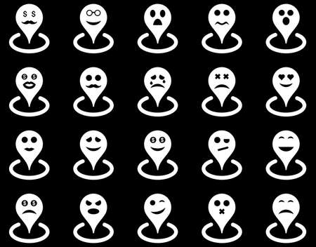 Smiled location icons. Vector set style is flat images, white symbols, isolated on a black background.
