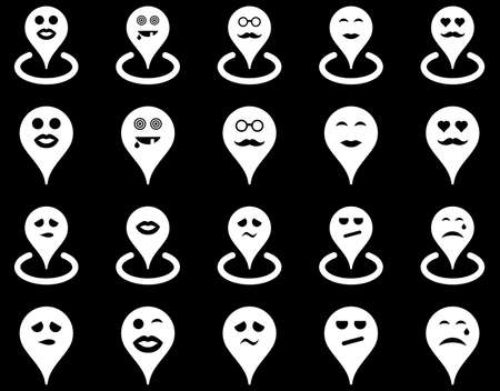 oldman: Smiled location icons. Vector set style is flat images, white symbols, isolated on a black background.