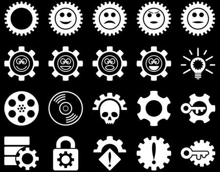 play poison: Tools and Smile Gears Icons. Vector set style is flat images, white color, isolated on a black background. Illustration