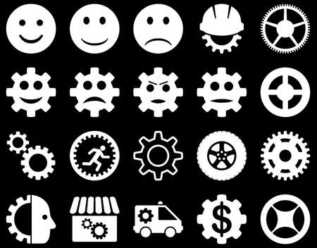 Tools and Smile Gears Icons. Vector set style is flat images, white color, isolated on a black background. Illustration