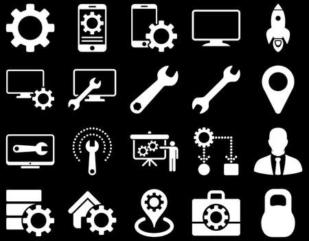 android tablet: Settings and Tools Icons. Vector set style is flat images, white color, isolated on a black background.