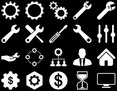 setup man: Settings and Tools Icons. Vector set style is flat images, white color, isolated on a black background.