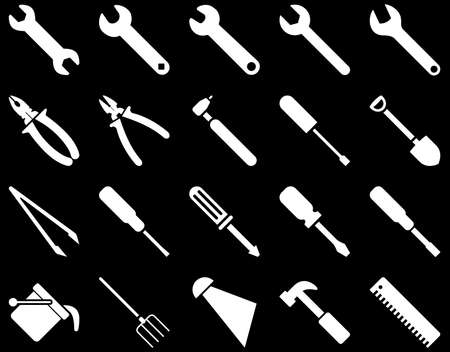Equipment and Tools Icons. Vector set style is flat images, white color, isolated on a black background. Illustration