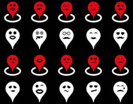 he laughs: Smiled map marker icons. Vector set style is bicolor flat images, red and white symbols, isolated on a black background.