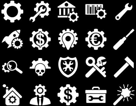 cash register building: Settings and Tools Icons. Vector set style is flat images, white color, isolated on a black background.