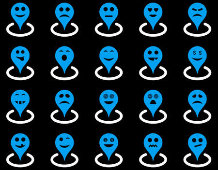 he laughs: Smiled location icons. Glyph set style is bicolor flat images, blue and white symbols, isolated on a black background.